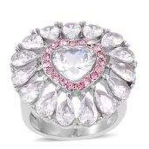 Jewelry - Simulated White Diamond/Pink Austrian Crystal Ring